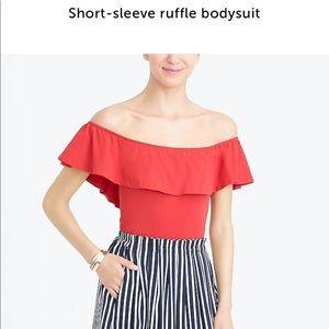 Red JCREW Ruffle Off the shoulder bodysuit Top